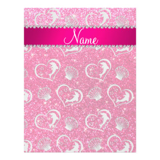 Name silver hearts dolphins rose pink glitter 21.5 cm x 28 cm flyer