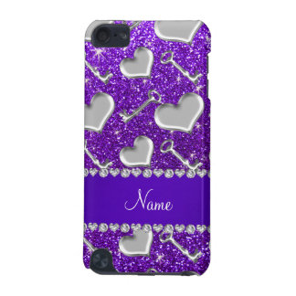 Name silver hearts keys indigo purple glitter iPod touch (5th generation) covers