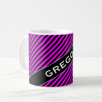 Name + Simple Fuchsia & Black Stripes Pattern Mug