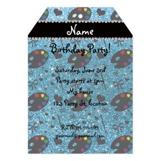 name sky blue glitter painter palette brushes 13 cm x 18 cm invitation card
