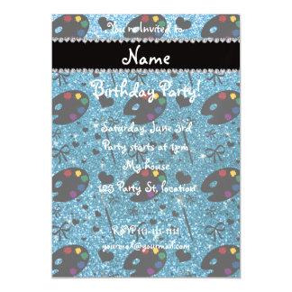 name sky blue glitter painter palette brushes magnetic invitations