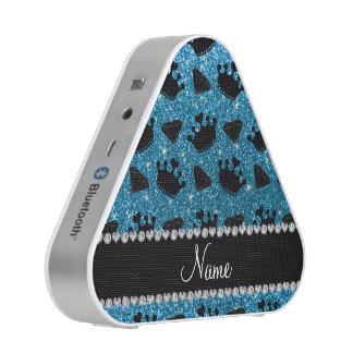 Name sky blue glitter princess crowns diamonds bluetooth speaker