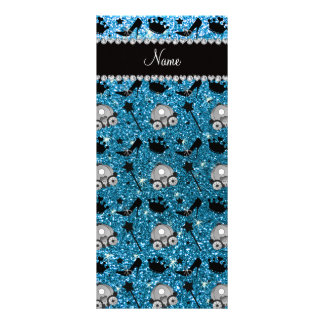 Name sky blue glitter princess crowns wand stars custom rack card