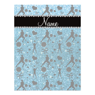 Name sky blue glitter volleyballs hearts bows personalized flyer
