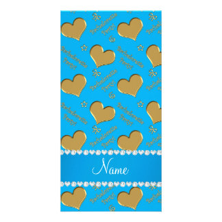 Name sky blue gold hearts bachelorette party customized photo card