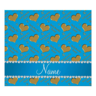 Name sky blue gold hearts bachelorette party poster