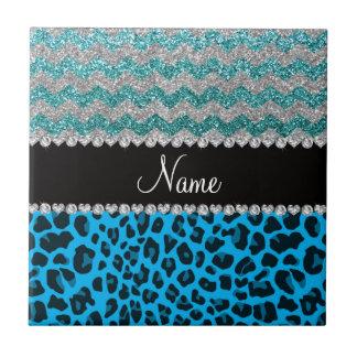 Name sky blue leopard turquoise glitter chevrons ceramic tiles