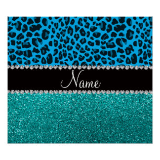 Name sky blue leopard turquoise glitter posters