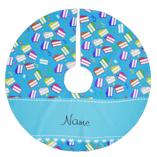 Name sky blue rainbow cakes balloons swirls brushed polyester tree skirt