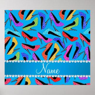 Name sky blue rainbow leopard high heels poster
