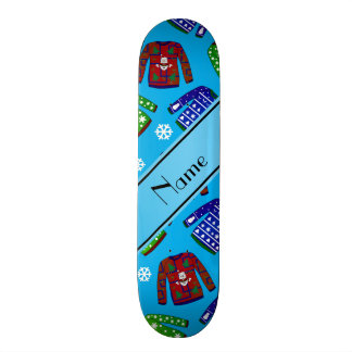 Name sky blue ugly christmas sweater pattern skate deck