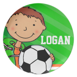 Name sporting football green logan boys kids plate