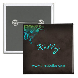 Name Tag Button Salon Spa Floral Blue Green