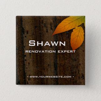 Name Tag Button Wood Grain Leaf Construction