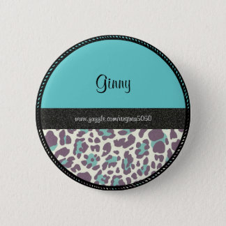 Name Tag: Leopard Print Name Template 6 Cm Round Badge