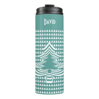 Name: Teal land White Christmas Tree Font Art Thermal Tumbler