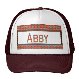 Name TEXT: ABBY  Elegant Red  Gold Border LOWPRICE Hat