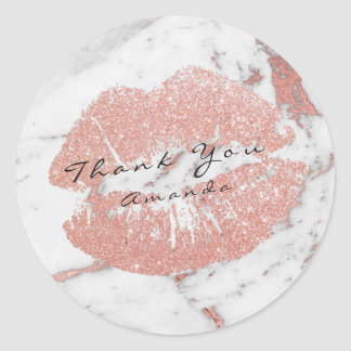 Name Thank You Kiss White Glitter Marble Rose Gold Classic Round Sticker