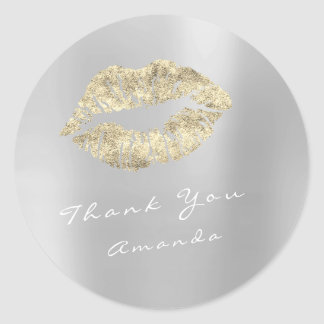Name Thank You Metal Kiss Gold Silver Grey Makeup Round Sticker