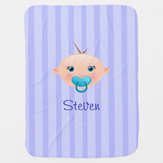 """""""Name This!"""" Baby Face Blue - Baby Blanket"""