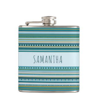 Name Tribal Teal Blue Pattern Vinyl Wrapped Flask