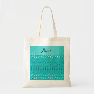 Name turquoise baby bottle rattle pacifier stork budget tote bag