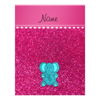 Name turquoise elephant neon hot pink glitter 21.5 cm x 28 cm flyer