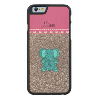 Name turquoise elephant silver glitter carved maple iPhone 6 case