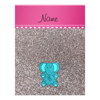 Name turquoise elephant silver glitter 21.5 cm x 28 cm flyer