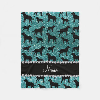 Name turquoise glitter labrador retrievers fleece blanket