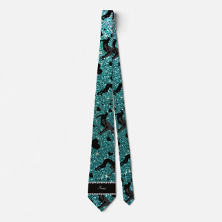 Name turquoise glitter wrestling hearts bows tie