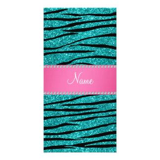 Name turquoise glitter zebra stripes pink stripe photo cards