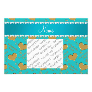 Name turquoise gold hearts bachelorette party photo
