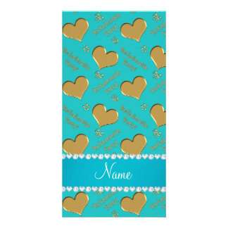 Name turquoise gold hearts bachelorette party photo card