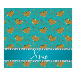 Name turquoise gold hearts bachelorette party poster