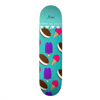 Name turquoise ice cream cones sandwiches popsicle skateboard