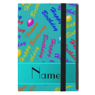 Name turquoise rainbow happy birthday balloons case for iPad mini