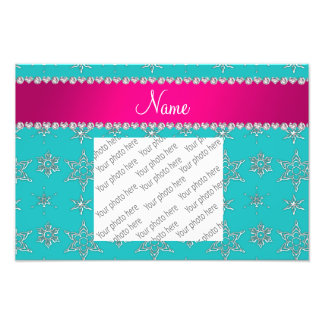 Name turquoise silver snowflakes pink stripe photo art
