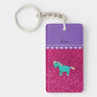 Name turquoise unicorn neon hot pink glitter Double-Sided rectangular acrylic key ring