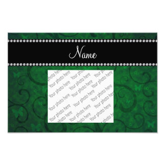 Name vintage bright green swirls and butterflies art photo