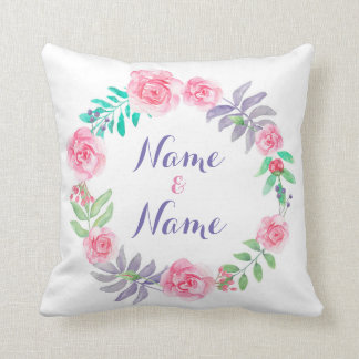 Name Wedding Cushion Gift Roses Floral Flowers
