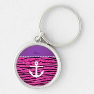 Name white anchor hot pink glitter zebra stripes key chains