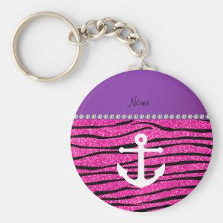 Name white anchor hot pink glitter zebra stripes key chain