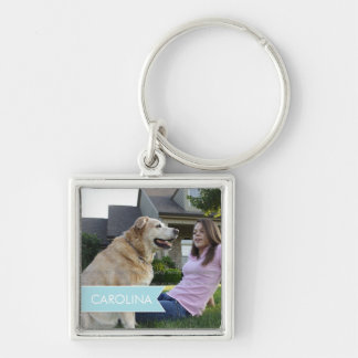Name White Blue Banner Personalized Photo Silver-Colored Square Key Ring