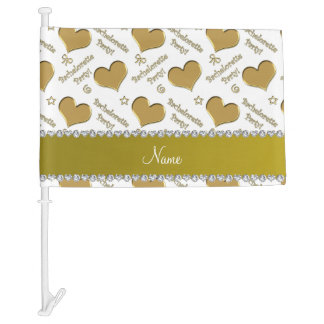 Name white gold hearts bachelorette party car flag