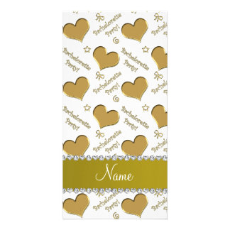 Name white gold hearts bachelorette party customized photo card