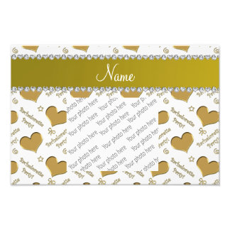 Name white gold hearts bachelorette party photographic print