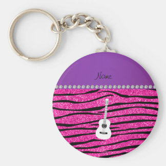 Name white guitar hot pink glitter zebra stripes basic round button key ring