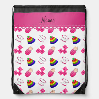 Name white pink baby blocks mobile toys drawstring bag