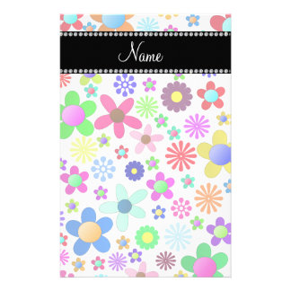 Name white transparent colorful retro flowers stationery